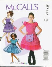 MCCALL'S SEWING PATTERN 7112 GIRLS/TEENS SZ 7-14 SPECIAL OCCASION DRESSES & BAG