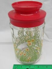 Flowers and Grass Glass Jar with Red Lid