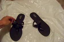 womens simply vera vera wang black beaded sandals shoes size med 7/8