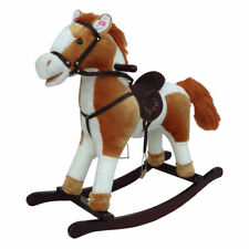 Cosmetic Damage Kids Small Wooden Rocking Horse Light Brown White 68cm Sound