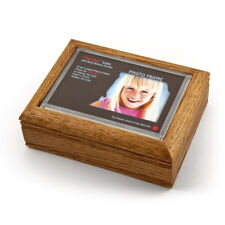 """4"""" X 6"""" Oak Photo Frame Music Box With New """"Pop-Out"""" Lens System"""