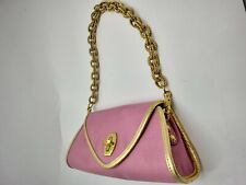 Eric Javits New York Coral Pink Gold Chain Evening Shoulder Purse Bag Turnkey