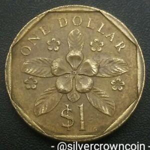 Singapore 1 Dollar 1988. KM#54b. Periwinkle Flower. Singapura coin.
