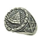 All Seeing Eye Pyramid Ring Masonic Ancient Mason Illuminati Sterling Silver 925 for sale