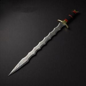 CUSTOM HANDMADE DAMASCUS STEEL VIKING SWORD 28 INCHES SWORD WITH LEATHER SHEATH