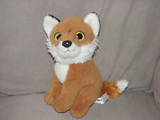 "TOYS R US STUFFED PLUSH FOX BIG PLASTIC EYES 2013 10"" WHITE BROWN-ORANGE"