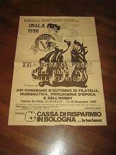 poster 1990 IMOLA,BOLOGNA MOSTRA HOBBY E COLLEZIONISMO FILATELIA NUMISMATICA