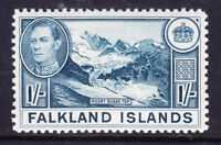 FALKLAND IS 1938 George VI SG158b 1/- dull blue - lightly mounted mint. Cat £38