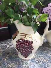 Tabletops Unlimited Villa Grande Large Handpainted Pitcher Vase Country Decor