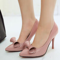 Women Fashion Pumps Shoes Bow High Heel Slip On Pointed Toe Dress Party Sandals