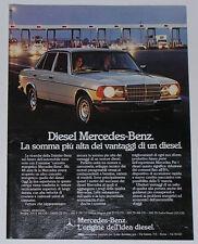 Advert Pubblicità 1982 MERCEDES DIESEL W123