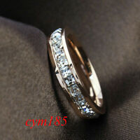 Silver/Rose Gold CZ Titanium Steel Ring Men/Womens Stainless Band Wedding Sz3-10
