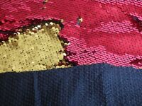 Fabric Backed Reversible Sequin Fabric (Mermaid) : RED/GOLD
