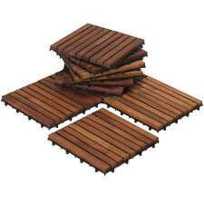 Oiled Teak Wood 9-slat Square Interlocking Tile Set (Pack of 10)