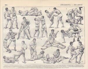 Jiu Jitsu Techniken Würfe Haltetechnik Hebeln HOLZSTICH von 1897 Kampfkunst