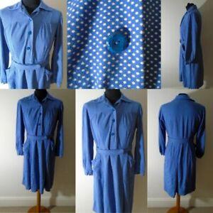 Vintage 1970s in 40s style spotty polka dot Chore Dress UK 10