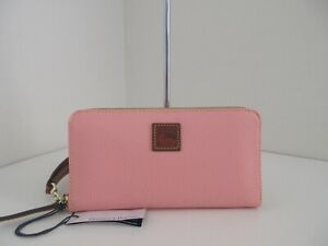 NWT AUTHENTIC DOONEY & BOURKE LARGE ZIP AROUND LEATHER WALLET-$148-PALE PINK