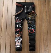 Fashion Men's Black Graffiti Printed Denim Punk Hip Hop Trousers Pants Jeans Hot