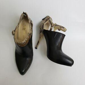 Enzo Angiolini Womens Shoes Heels Booties Back Zipper Black Beige Size US 8 M