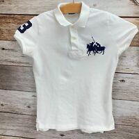 Ralph Lauren Womens Skinny Fit Big Pony Polo Shirt White Navy Blue Size M