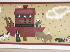 Lambs Ivy Country Noah Animal Crackers Wall Border Noahs Ark Folk Art 5 Yds NEW
