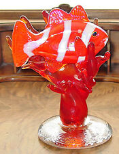 Signed and Dated Fulton Clownfish in Coral Art Glass Sculpture