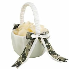 NEW White with Digital Camouflage Print Ribbon Wedding Flower Girl Basket