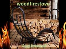 'Applewood' Wrought Iron Curved Alfresco Log Rack-Patio Fire Wood Storage-holder