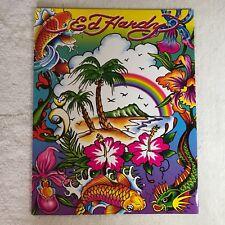DON ED HARDY Paradise Palm Tree Flowers Koi Fish Heart Rainbow Portfolio Folder