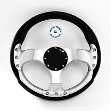"NEW ""DELUX SPORT"" Sports Boat Steering Wheel Black and Silver"