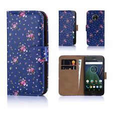 PU Leather Floral Design Book Wallet Case Cover for Motorola Moto G5 Vintage Rose Indigo Moto.g5.booklthf-vrindigo
