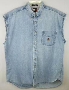 TOMMY HILFIGER Mens Blue Jean Sleeveless Button Up Cotton Shirt Size XL