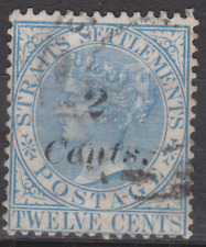 Straits Settlements 1883 Used 2c on 12c Blue SG62 Cat £170