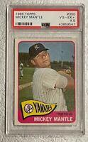 1965 Topps Baseball #350 Mickey Mantle New York Yankees HOF PSA 4.5 VG-EX+
