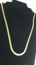 """14K Gold Plated Necklace Serpentine Gold Nugget Chain 19.5""""  Long 5 MM Flat USA"""