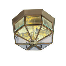 Searchlight 8235AB Antique Brass Flush Light With Clear Glass Fitting