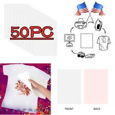 50Pcs A4 Heat Transfer T-Shirt Laser/Inkjet Iron-On Paper For Dark/Light Fabric