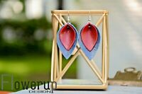 Lightweight handmade real leather 4th of July patriotic statement earrings