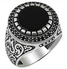Bague Chevalière Argent Massif 925 Serti onyx zircon Noir Sterling Silver Ring