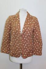 MARNI Ladies Tan Brown & Ivory Cotton 3/4 Sleeve Spotted Blazer Jacket IT40 UK8