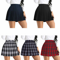 Women Girls Plaid Skirt School Girl Uniform High Waist Pleated Short Mini Dress