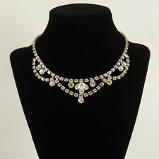 Vintage Weiss Clear Rhinestone Choker Necklace Unmarked 15 1/2 inches