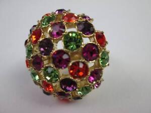 Kate Spade Vintage Lady Marmalade Mushroom Color Rhinestone Disco Ring 6 $145