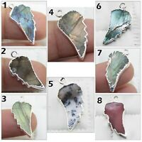 Leaf Labradorite Opal Rhodocrosite Silver Plated Earring Necklace Connectors