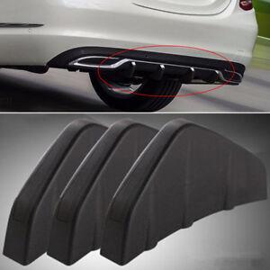 3PCS Universal Rear Bumper Diffuser Moulding Shark Fin Block Screw-on Black PVC