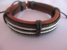Bracelet Brown and Ivory Adjustable Length Men Leather and Hemp Waxed Braided