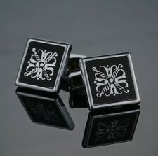 Silver Regal Black Cufflinks Formal Wear Business Wedding for Suit Shirt Gift