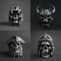 Accessories Indian Stainless Steel Warrior Vintage Rings Punk Gothic Skull