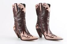 Lucchese Charlie 1 Horse Brown/Pink Pointed Toe Heel Leather Cowboy Boots $300