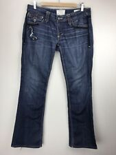 Taverniti Jeans JANIS Women Low Rise Boot Cut Size W 31 Distressed Dark Wash